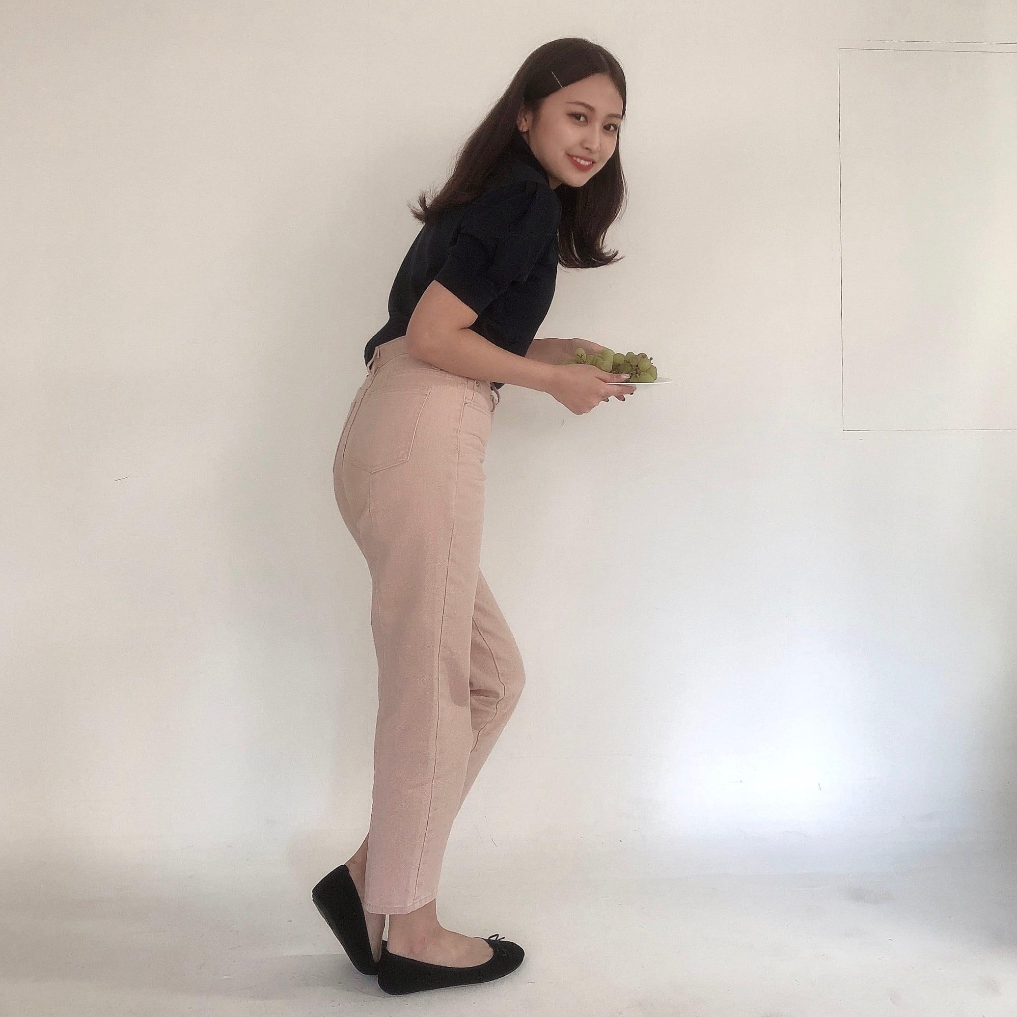 【LAST3】peach straight denim pants