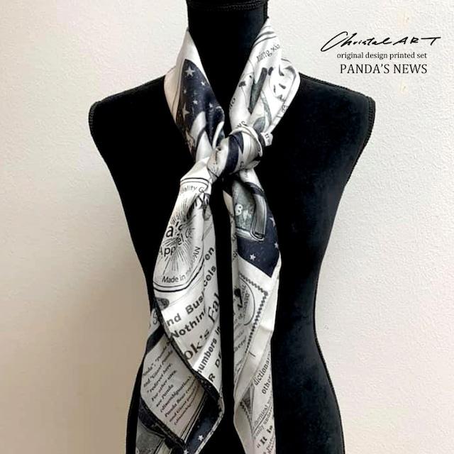 ◆即納◆パンダニュース柄◆大判シルク100%スカーフ◆