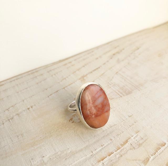 Natural peach jasper ring  /    OBH-37