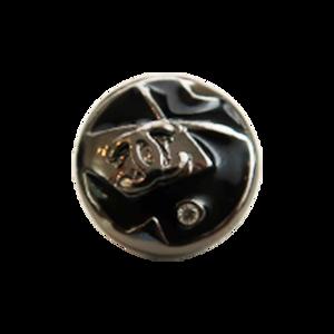 【VINTAGE CHANEL BUTTON】ブラックシルバー ココマーク ラインストーン付き ボタン 12mm C-19211