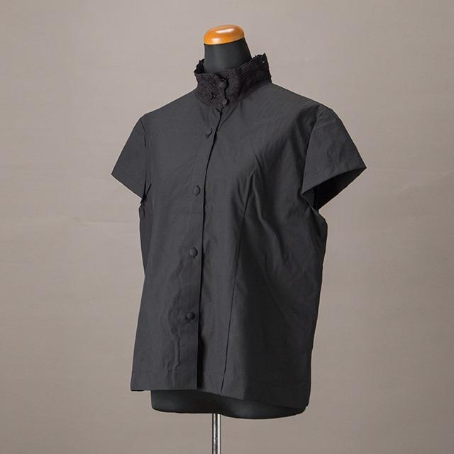 【綿100%使用】バテンレースちょい袖ブラウス ブラック【YBL-BLS-07】