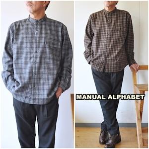 manualalphabet  マニュアルアルファベット ウールシャツ チェックシャツ 長袖シャツ MA-S-587 TWILL CHECK LOOSE FIT  バンドカラーシャツ