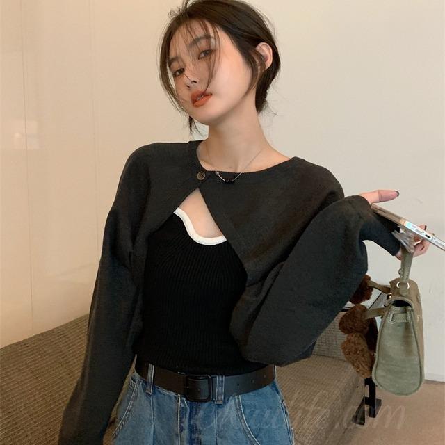 【セット】「単品注文」ファッション長袖ラウンドネックカーディガン+キャミソール51819329