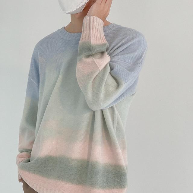 Tie-dye drawing sweater   b-457