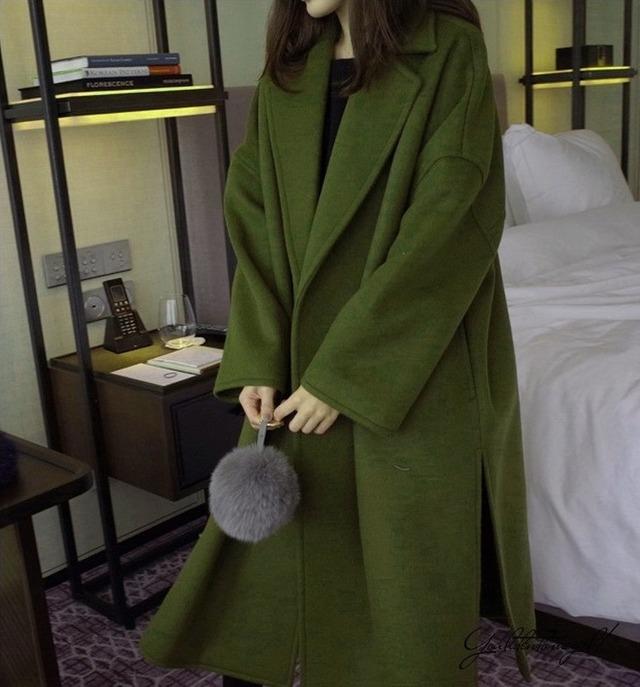 【ロングコート】コート その他コート ロングコート 襟付き 大きいサイズ ウール ロング丈 アウター スリット 20代 30代 40代 50代 ゆったりサイズ