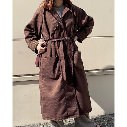 【RehersalL】check tweed long coat(brown) /【リハーズオール】チェックツイードロングコート(ブラウン)