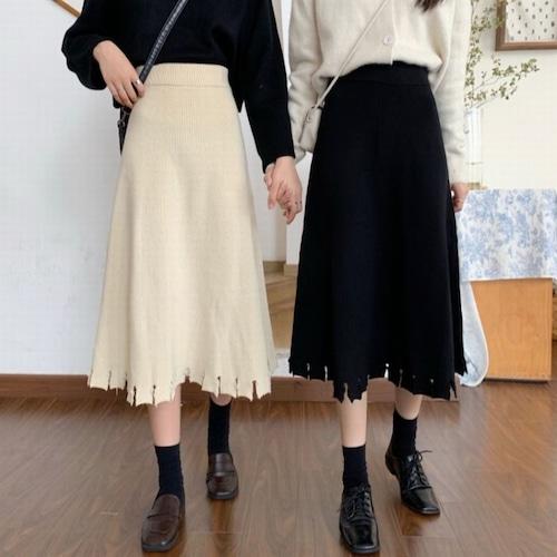 ニットスカート ミドル丈 Aライン ハイウエスト 韓国ファッション レディース スカート ニット 大人可愛い ガーリー DTC-631863287111