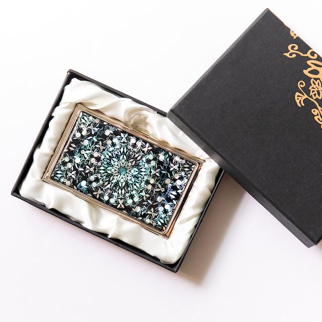 天然貝 名刺カードケース(フラワーファンタジー・ブラック)シェル・螺鈿アート