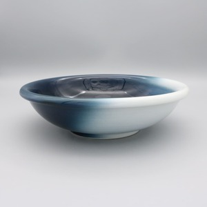 砥部焼 ヨシュア工房 平鉢(中)玉縁 内青