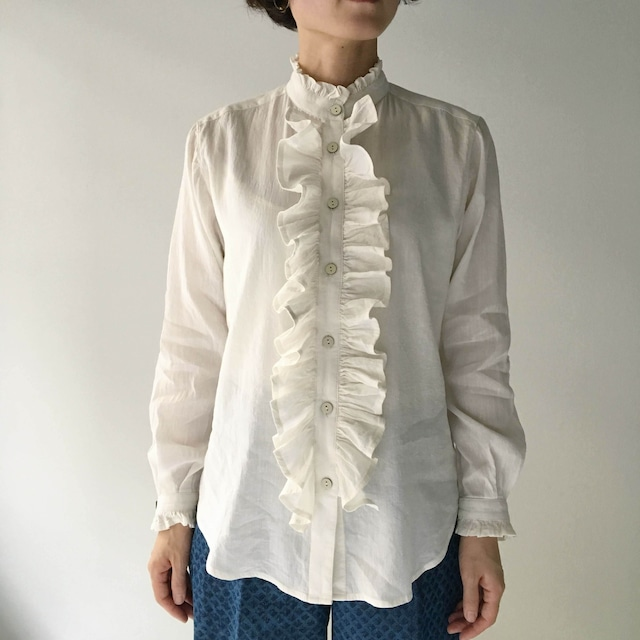 "Frill blouse "" white"" silk & linen"