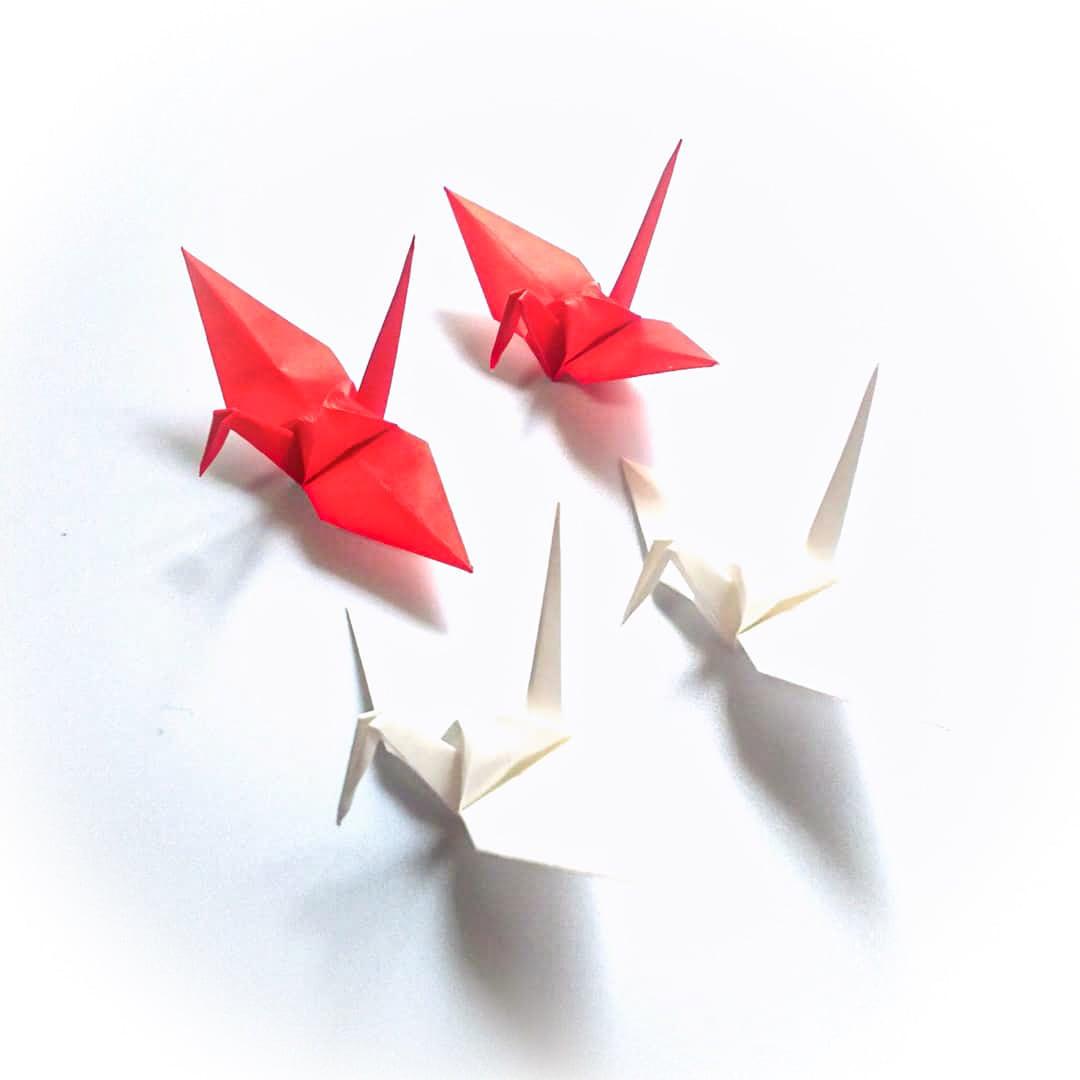 おめでとうございます、お祝いの日の紅白折り鶴 (神前式、和装婚折り鶴シャワー演出・和風撮影小物) 100羽入り