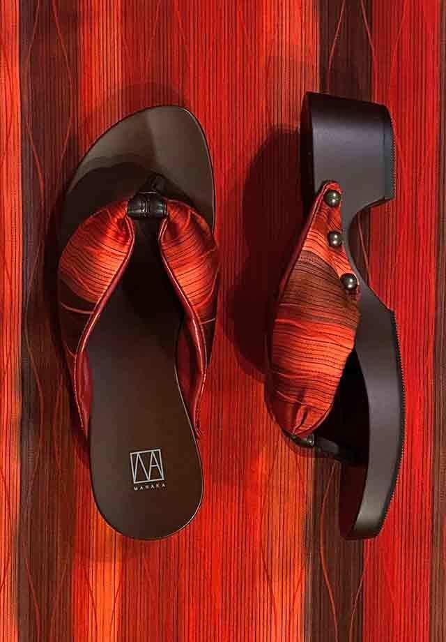MANAKA ヒール下駄:赤波柄(GETA Kimono nami red)4.5cmヒール