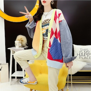 ファッション 綺麗め Vネック 長袖 切り替え 3色選択可 カーディガン アウター<ins-2226>