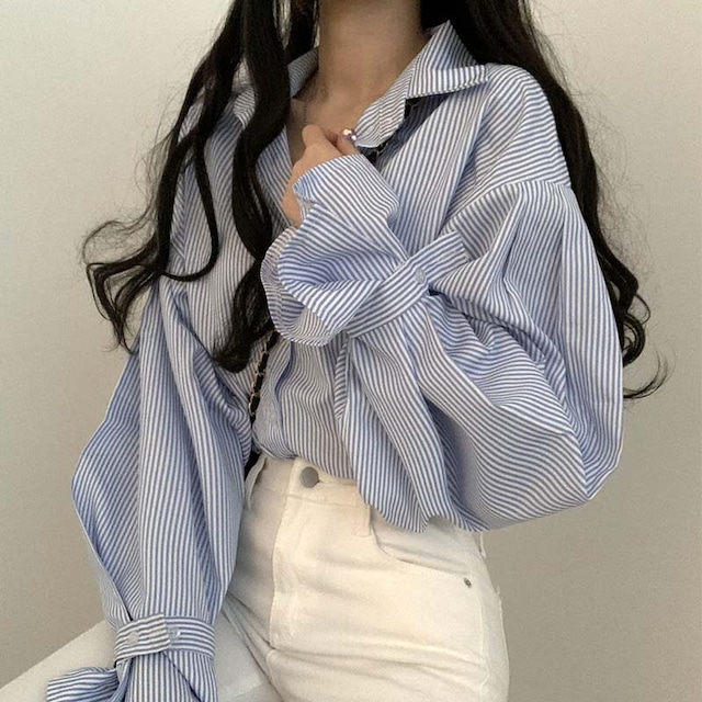 【トップス】韓国系ストライプ柄長袖シングルブレストPOLOネックシャツ51443468