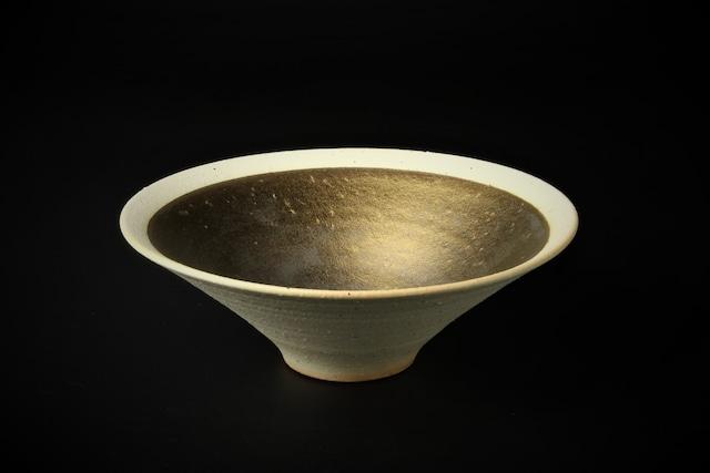 粉引金彩7寸鉢 信楽焼
