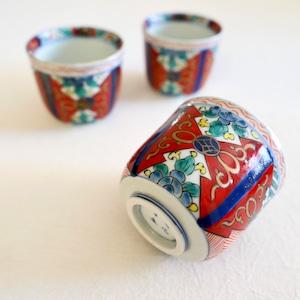 【31032】伊万里 カップ・湯呑 赤絵 明治 / Imari Flower Plate  - Red & Blue / Meiji Era