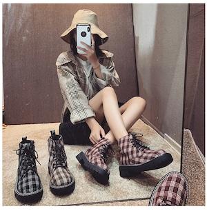 【シューズ】チェックトレロヨーロッパ風柄ブーツ43007869