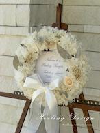 ウェディング ウェルカムボード リース(ホワイトアジサイ)結婚式 プリザーブドフラワー ガーデンウェディング  / 受注製作