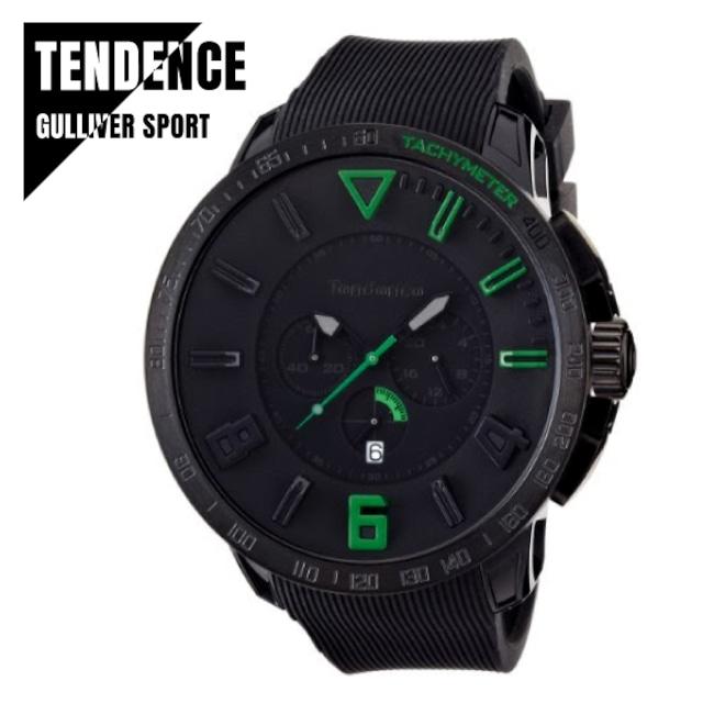 TENDENCE テンデンス GULLIVER SPORT ガリバー スポーツ TT560003 ブラック×グリーン 腕時計 レディース メンズ