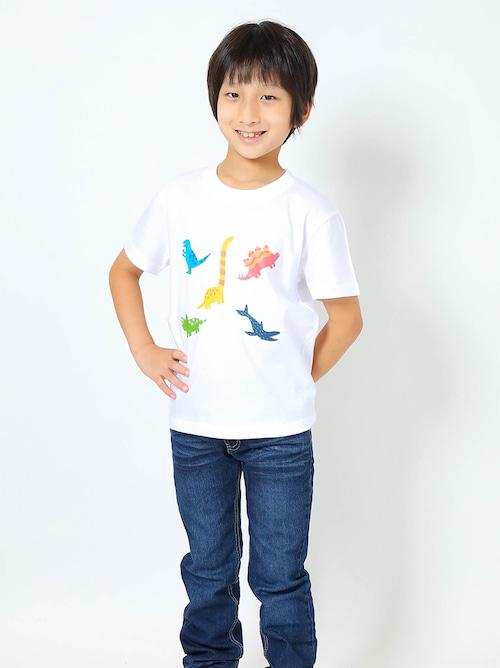 恐竜プリントTシャツ(子供用・恐竜ミックス)ホワイト【KT-AS】