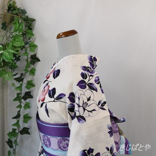 綿麻浴衣 白地に椿 菫
