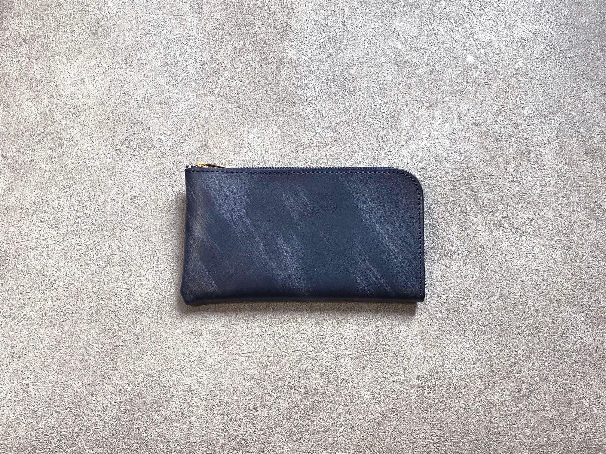 SHOZOウォレット(ヌメ革ロウ引き):ネイビー ※「アジア・パシフィック・レザー・フェア2019」革小物部門グランプリ受賞商品