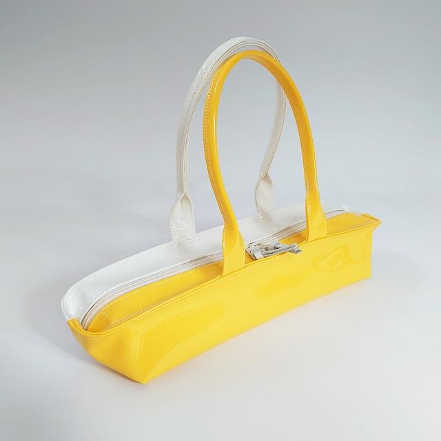[ sugaya design lab エナメルバッグ ]  在庫1点  hosonaga  M# レモンイエロー+オフホワイト