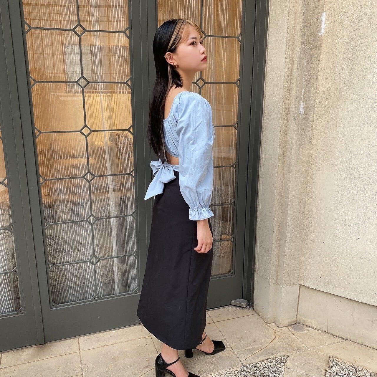 【Belle】shirring slit skirt / black