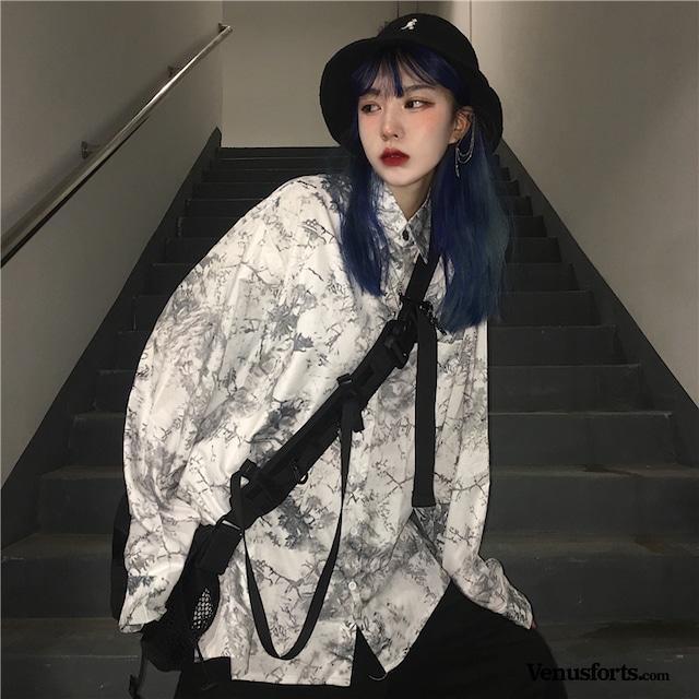 【トップス】プリントストリートカジュアルシャツ43010020