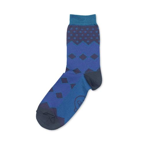 紬POP|靴下|蘇鉄葉|ブルー 《UNISEX》
