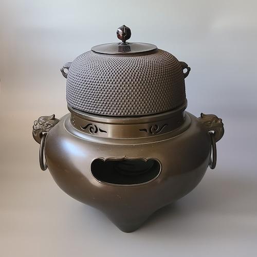 茶道具 唐銅 切掛 鬼面風炉 菊地政光 箱無し 釜釻付 釜 鋳物 山形