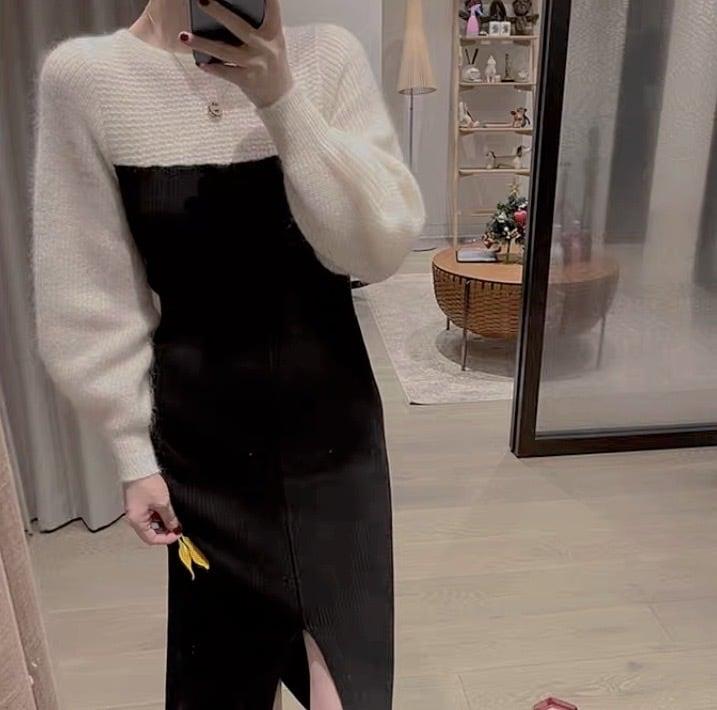 by color long dress 3color