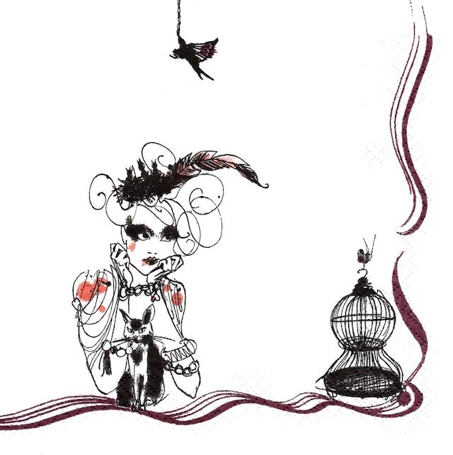 北欧【Rorstrand】バラ売り1枚 ランチサイズ ペーパーナプキン Mademoiselle Oiseau ホワイト