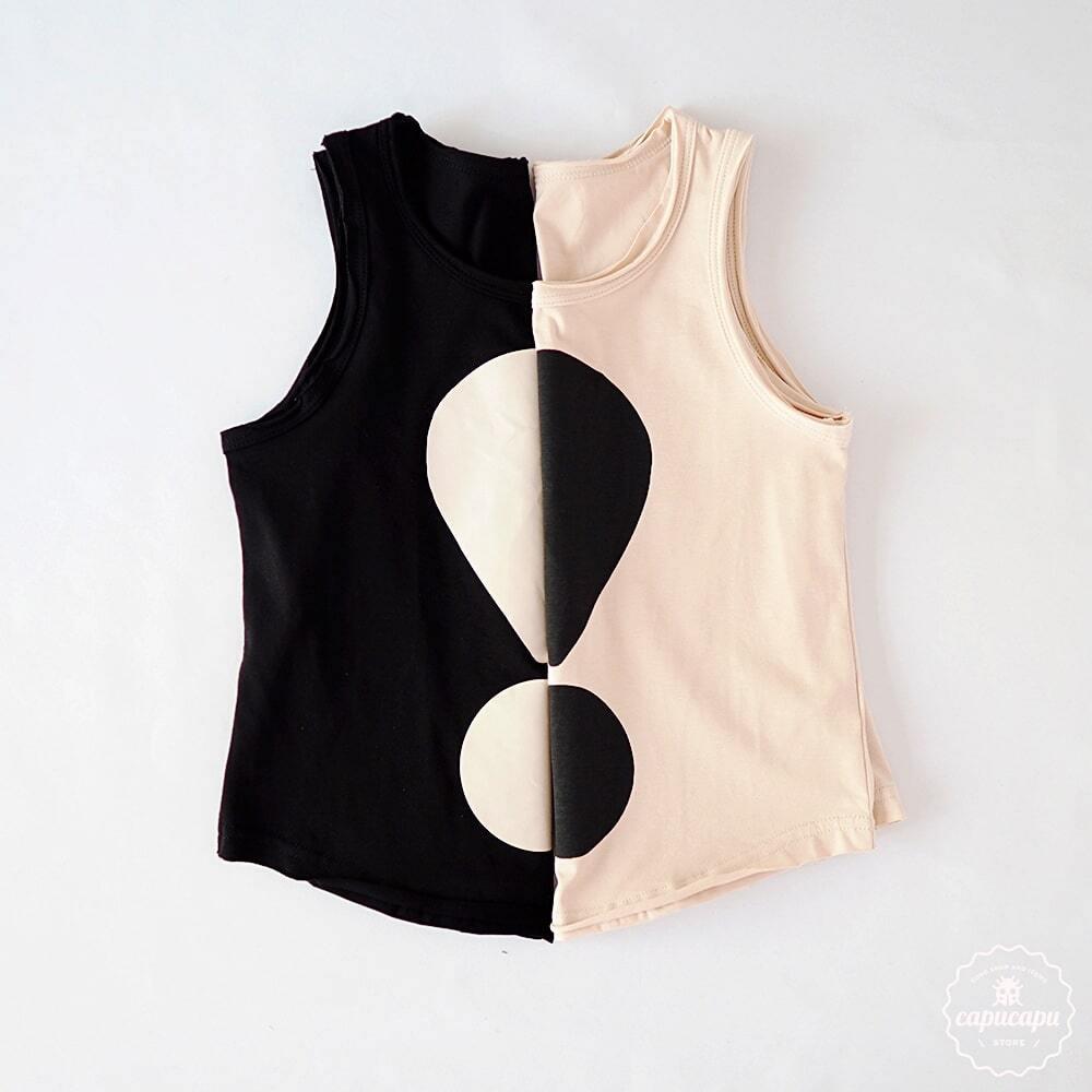 «即納» monjello!sleeveless 2colors ビックリマークノースリーブ