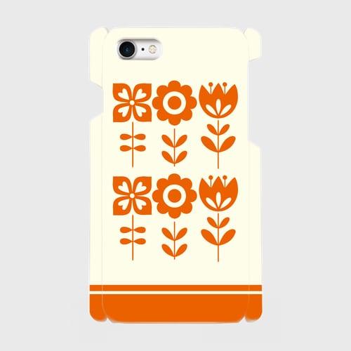 昭和デザイン花(橙) / iPhoneスマホケース(ハードケース)