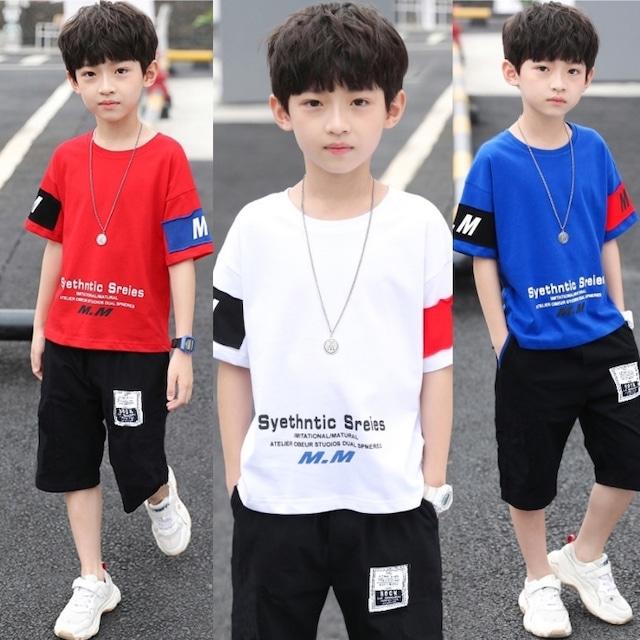 【子供服】Tシャツ 男の子 半袖 Tシャツ子供 韓国 120 130 140 150 160 赤 白 青 レッド ホワイト ブルー