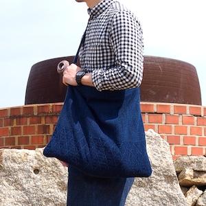 うしじま縫製 | 武州正藍染 ショルダーバッグ 大 二重刺子