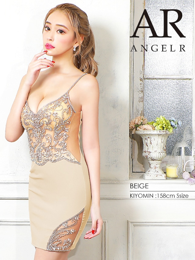 【AngelR】フロントビジューメッシュタイトミニドレス(AR21804)
