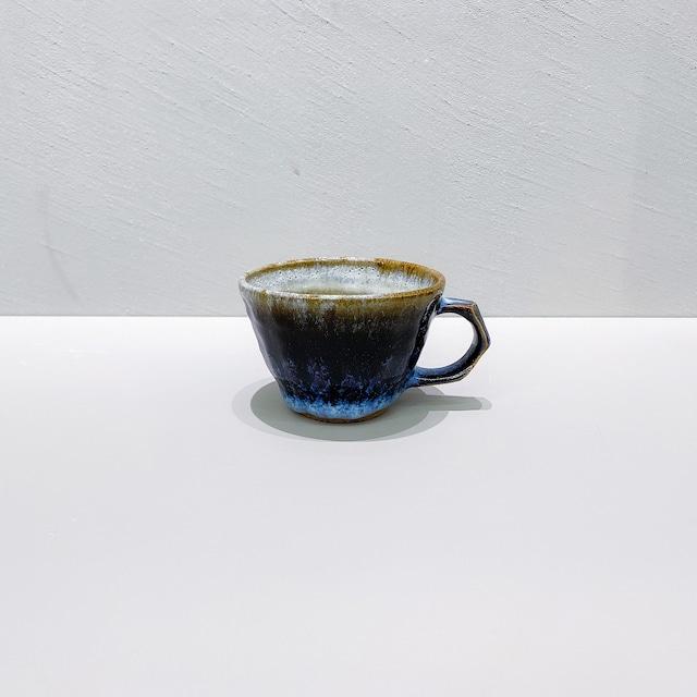 三輪田窯 鎬手マグカップ|青