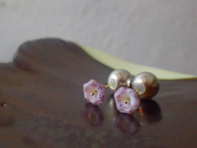 purple flower beads earrings