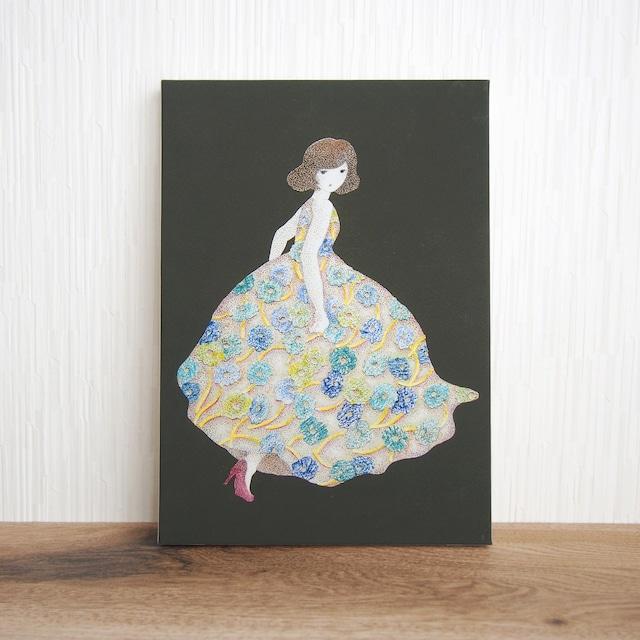 *花のドレスを着た女の子の絵 (複製) 木製パネルサイズ変更可