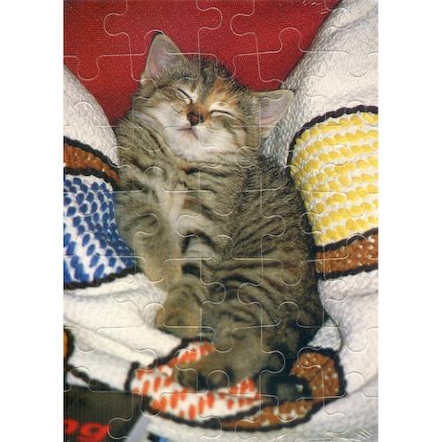 猫グリーティングカード(パズル型ポストカード)仰向け
