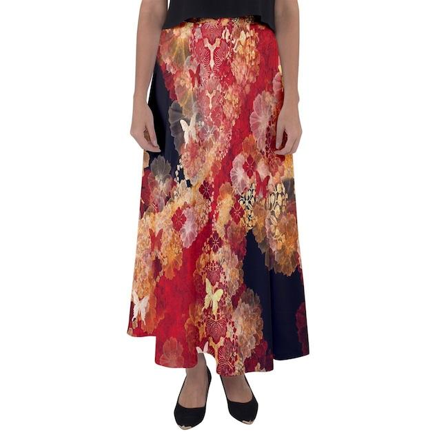 家紋と華 Black Pink マキシフレアスカート