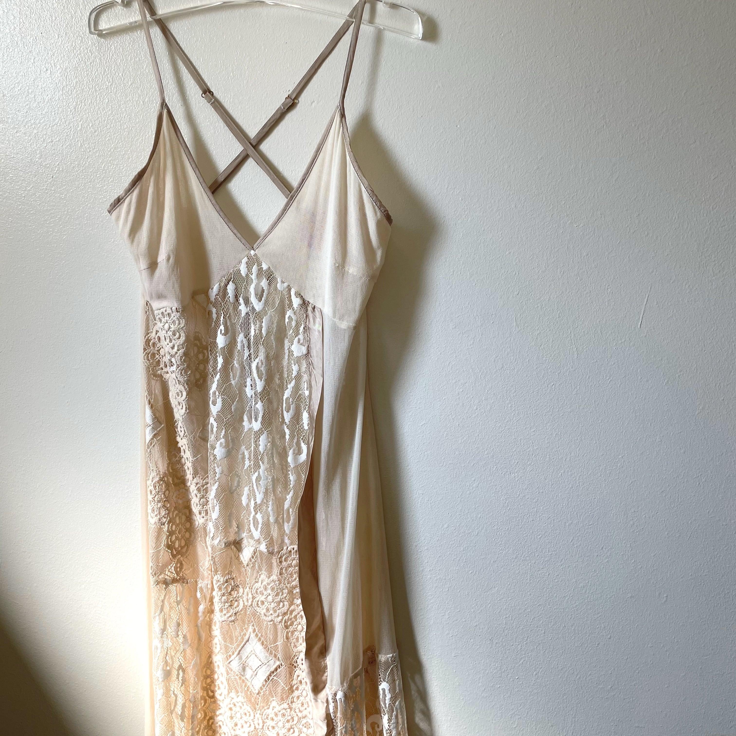 【RehersalL】lace camisole dress (v.beige)/【リハーズオール】レース キャミソール ドレス(ベージュ)