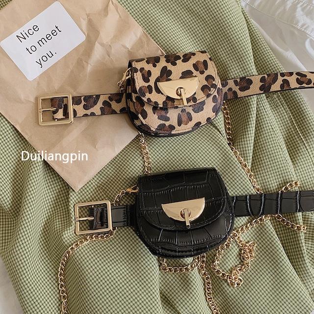 【DUILIANGPINシリーズ】★ベルト+バッグ★ 2color 豹柄orブラック ファッション 小さ目 可愛い