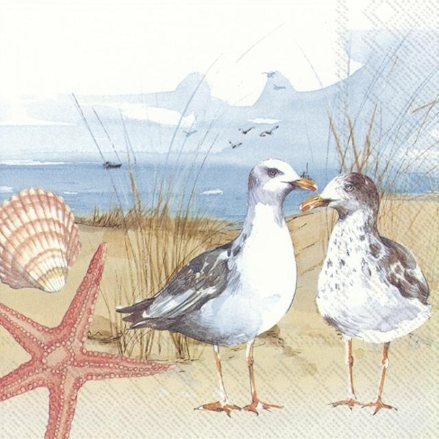 【IHR】バラ売り2枚 ランチサイズ ペーパーナプキン SEAGULLS AT THE BEACH ブルー