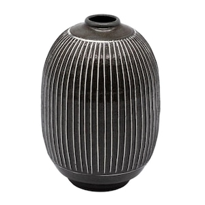 京焼 清水焼 関陶房 一輪挿し 花瓶 高さ約12cm 京さび黒十草 246259