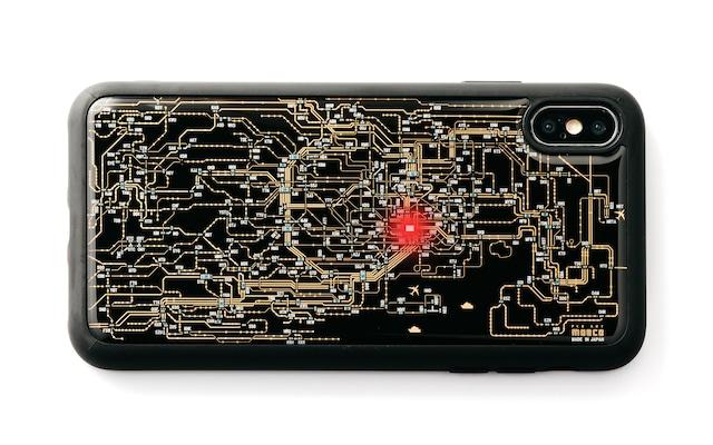 FLASH 東京回路線図 iPhone XS Maxケース 黒【東京回路線図A5クリアファイルをプレゼント】