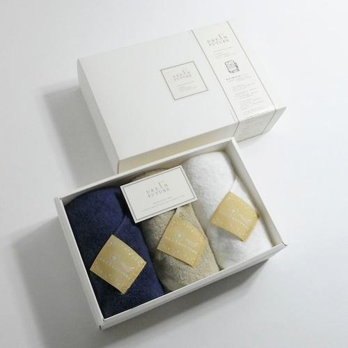 無撚糸(むねんし)高級Face Towel 3枚SET Star Nave(夜空の夢 )/   Star Beige(ベージュの癒し)/  Star White(純白のやすらぎ)