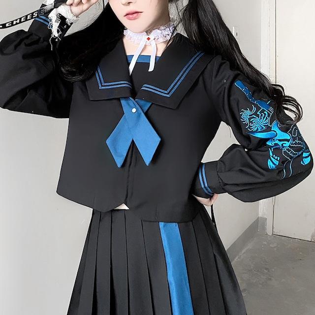 【開向花海シリーズ】★セットアップ ★ トップス+スカート セーラー服 JK風 不良少女 ブラック ブルー 黒い 青い